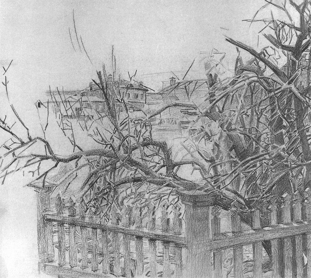 Дерево у забора. Рисунок карандашом, фото, фотография: http://vrubel-world.ru/vrubel-graphic/31.php